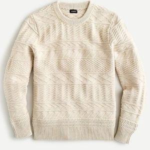 NWT J. Crew Guernsey Stitch Cotton Sweater Size M